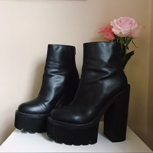 """JEFFREY CAMPBELL """"The Damned"""" Leather Platforms"""